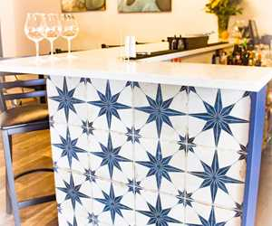 Beautiful tile and marble bar
